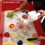 Veggie Scrubbing Water Sensory Table