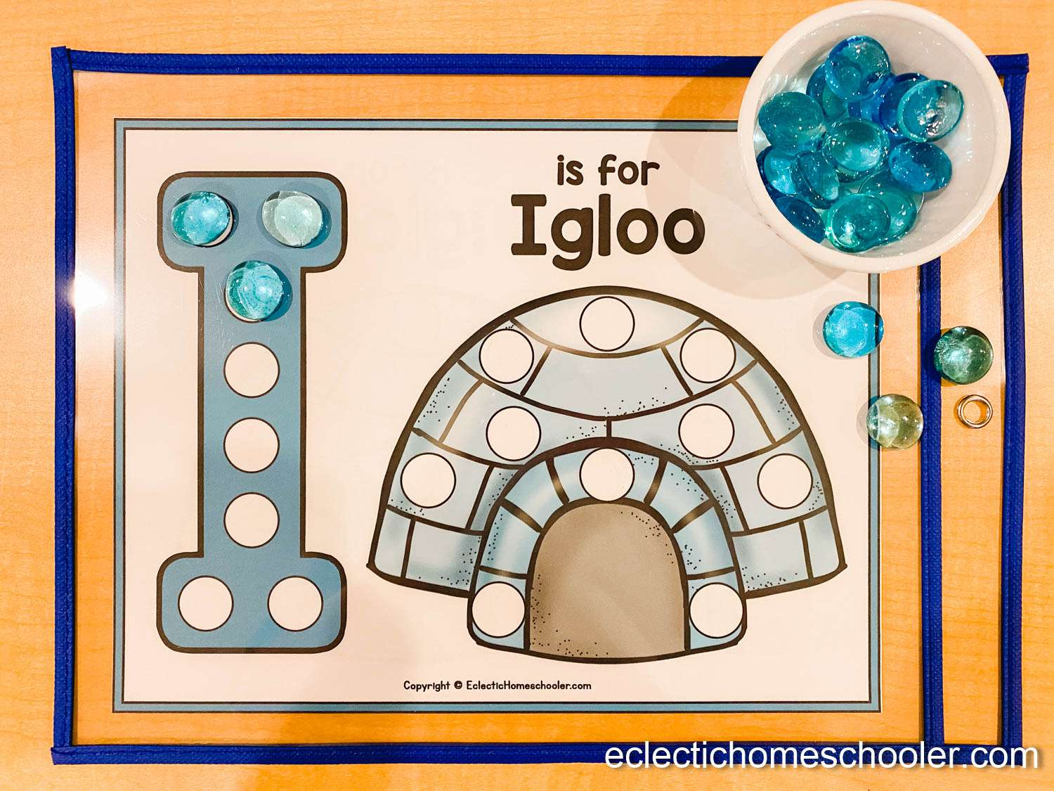 Letter I Do a Dot Printable With Glass Gems