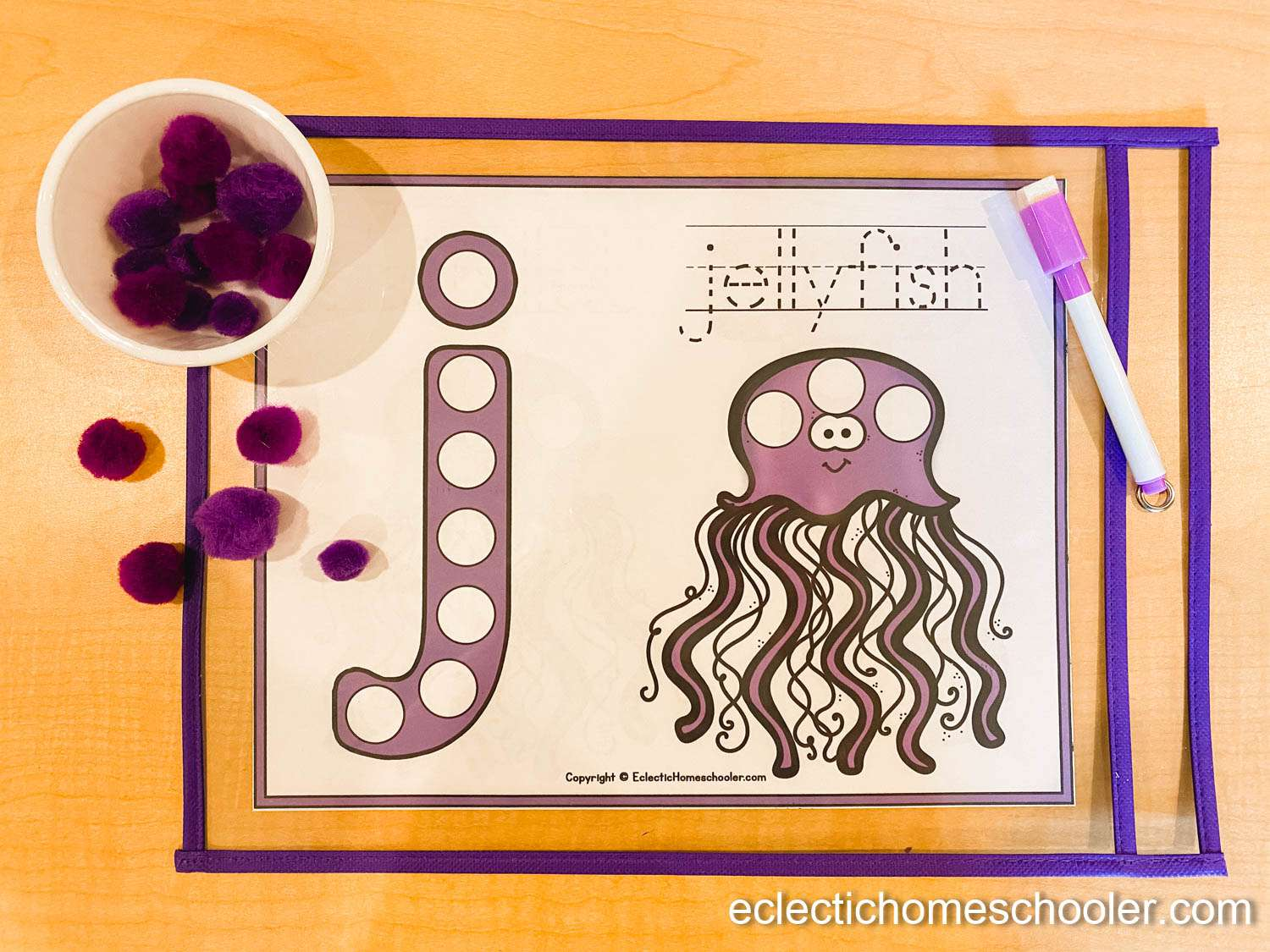 Letter J Do a Dot Pages with Pom Poms