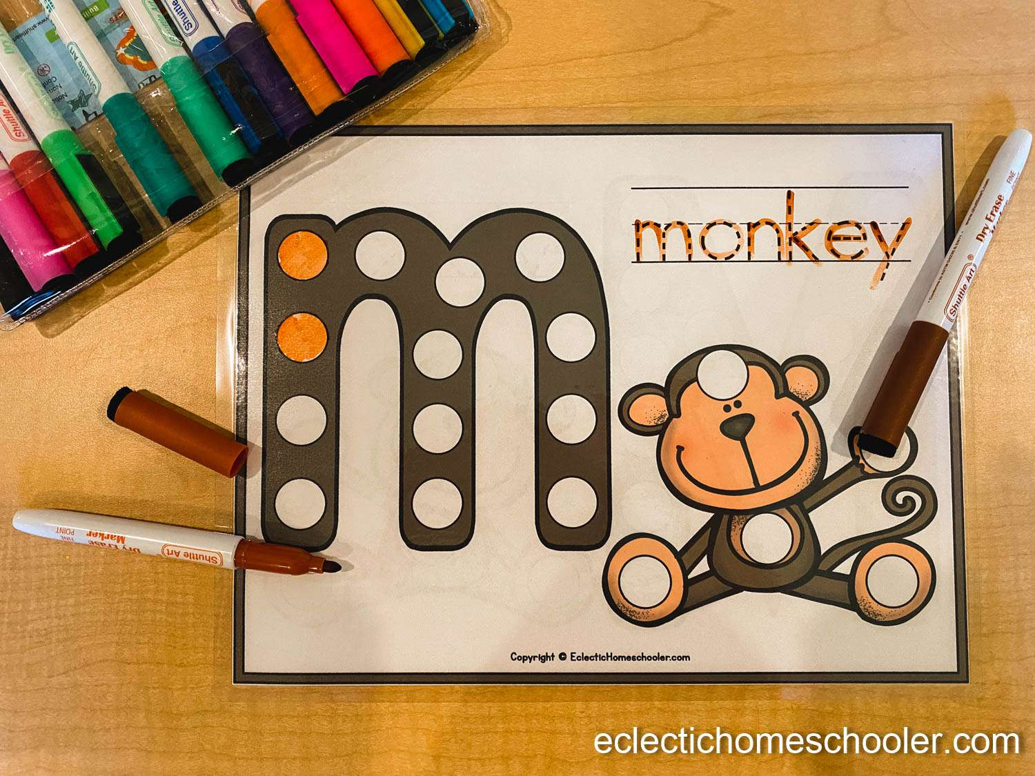 Letter M Do a Dot Printable With Dry Erase Markers
