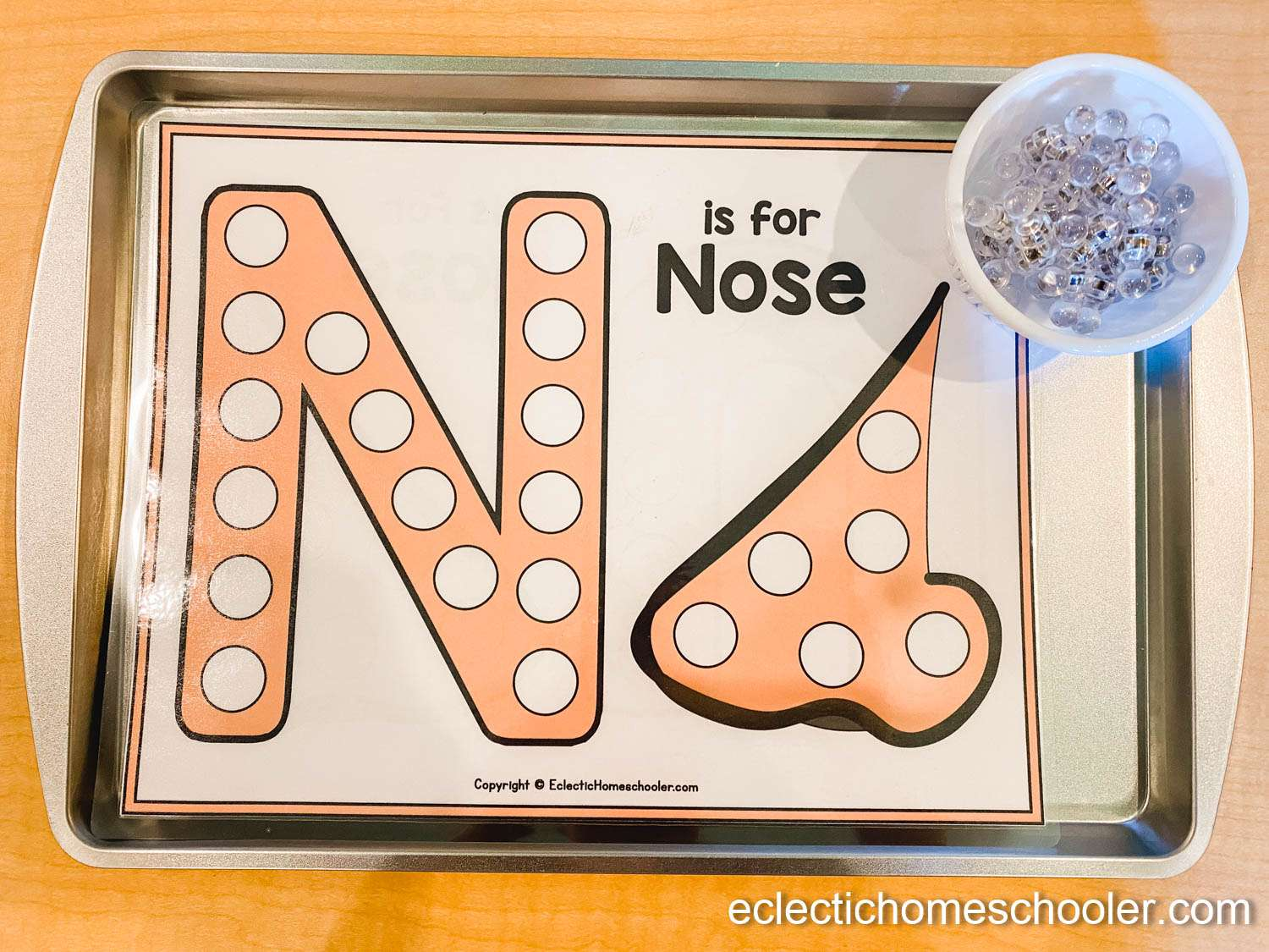 Letter N Printable Dot Page With Magnetic Tacks