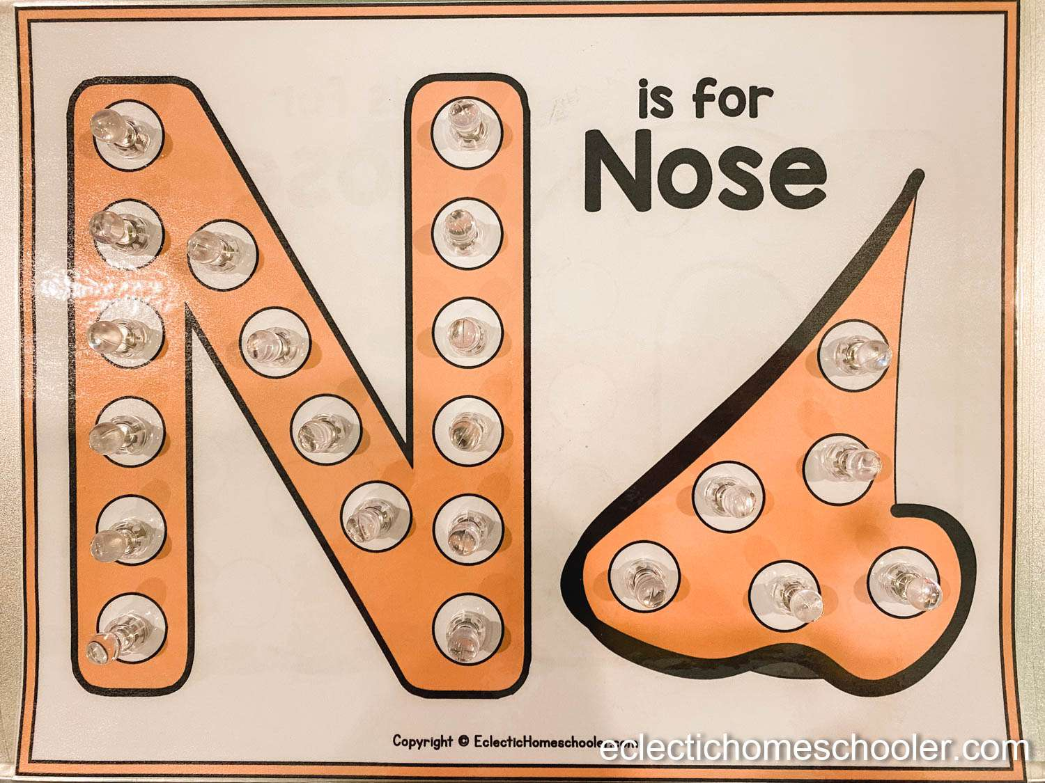 Letter N Do a Dot Pages With Magnetic Tacks