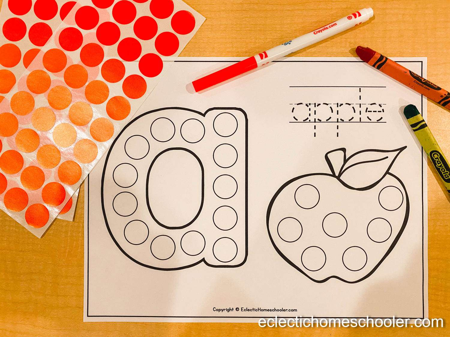 Letter A Do a Dot Printable With Dot Stickers