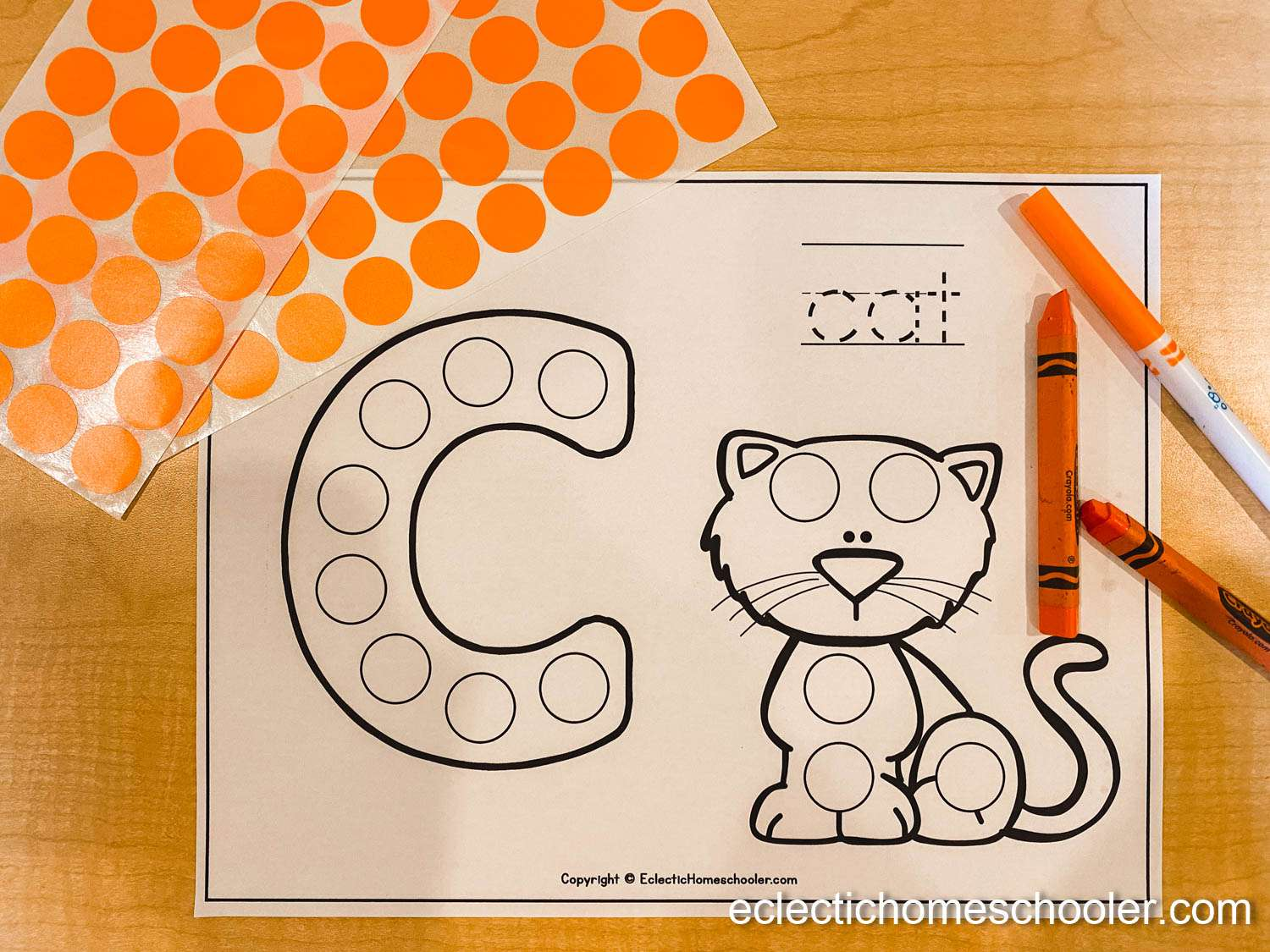 Letter C Free Printable Do a Dot Pages With Dot Stickers