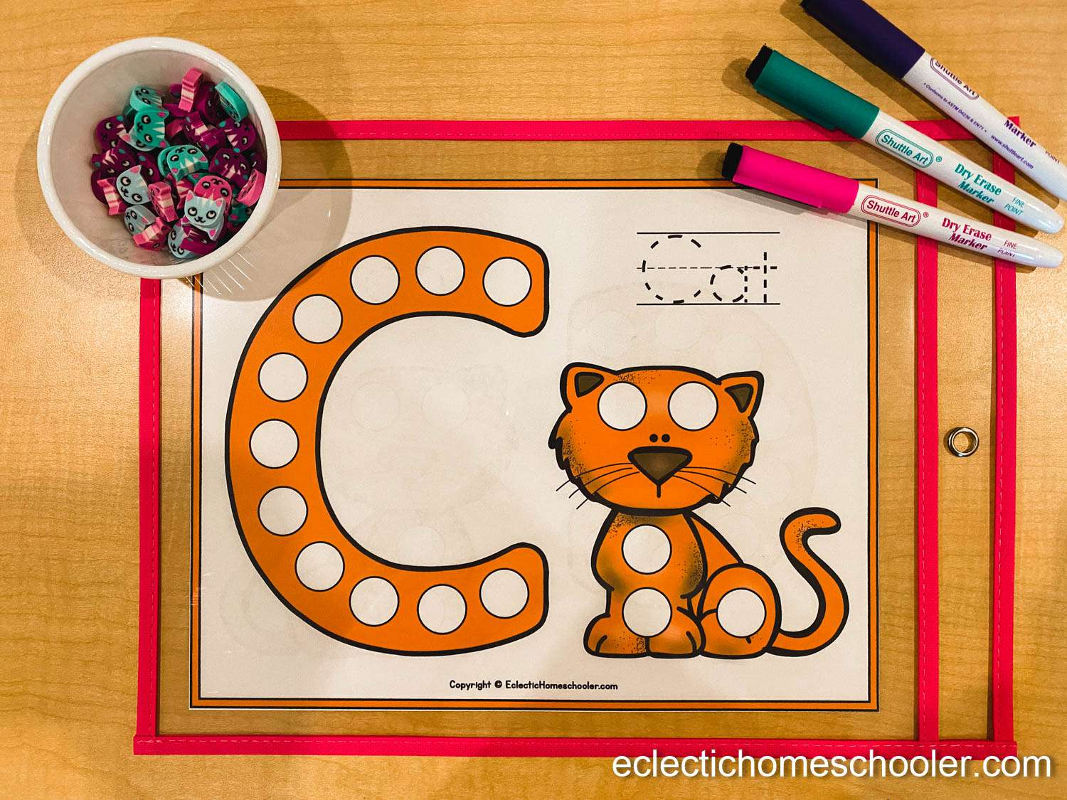 Letter C Do a Dot Printable With Shaped Cat Erasers
