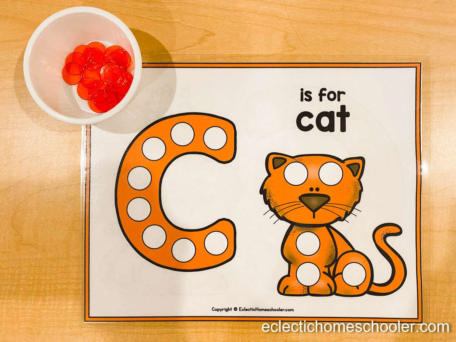Letter C Printable Dot Pages with Counting Chips