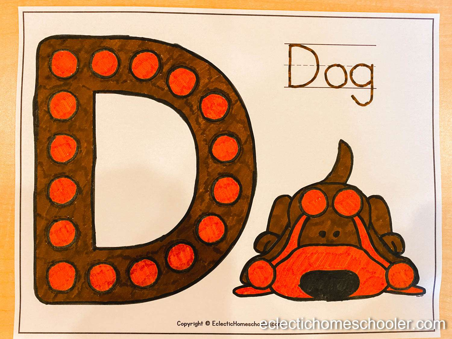 Letter D Printable Dot Pages with Markers