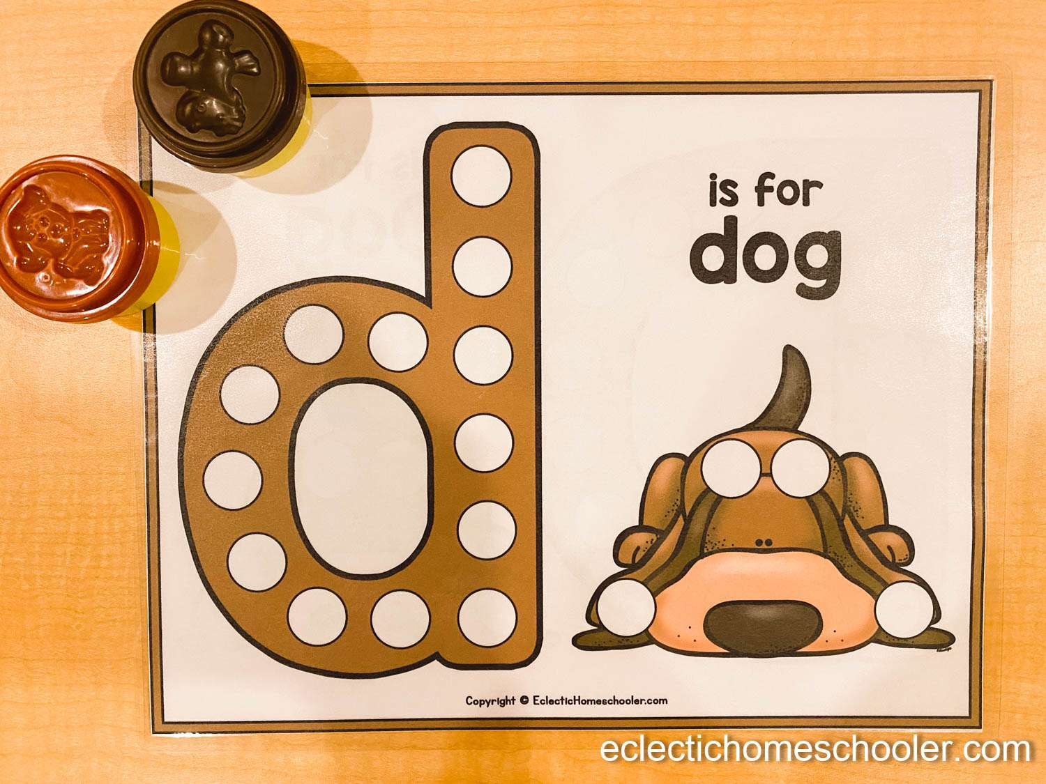 Letter D Do a Dot Printable With Unifix Blocks