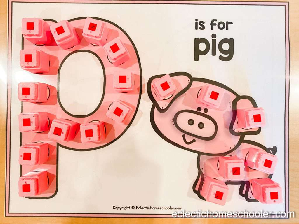 Letter P Do a Dot Printable With Unifix Blocks